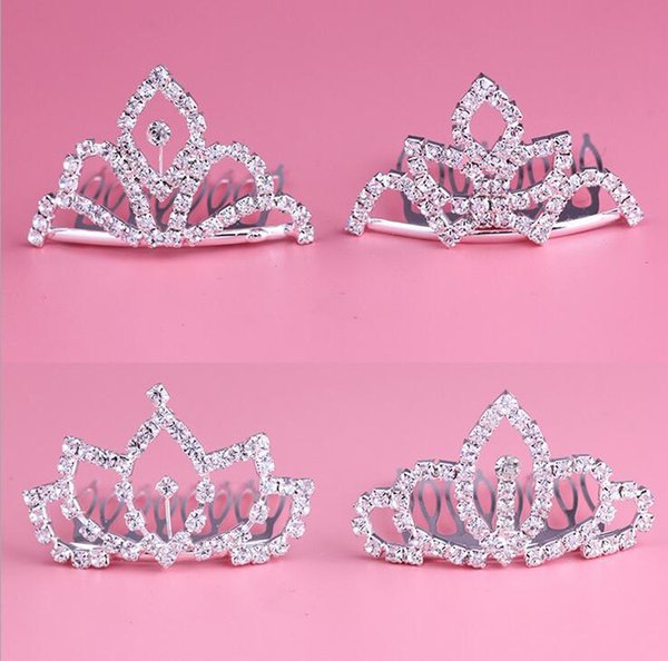 Fashion Rhinestone Tiara Hair Clip Diamond Princess Crown Comb Hair Accessories Hairpin For Bridal Girls & Kids 12pcs/lot