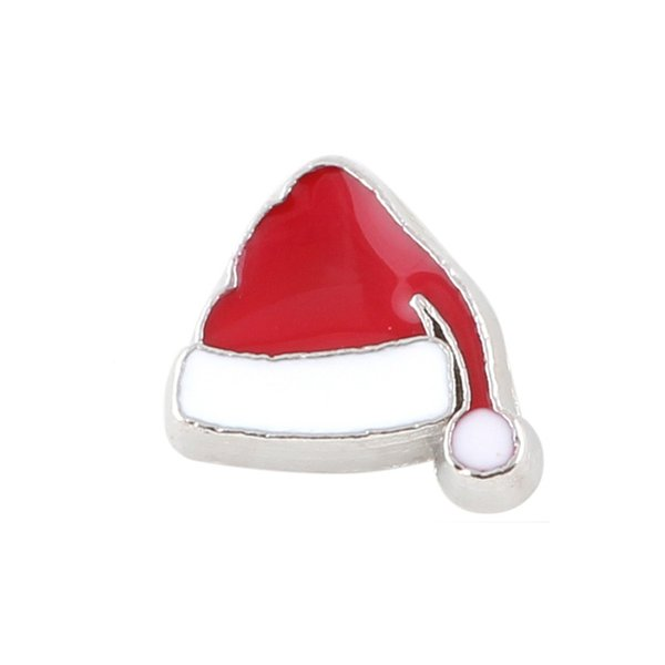 20pcs/lot free shipping good quality new type Christmas hat floating charms for glass living memory lockets