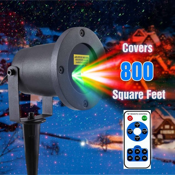 Wireless Control Laser Christmas Projector Light Dynamic Red&Green 2 in 1 Laser Star Projector Light Waterproof for Landscape Wedding Party