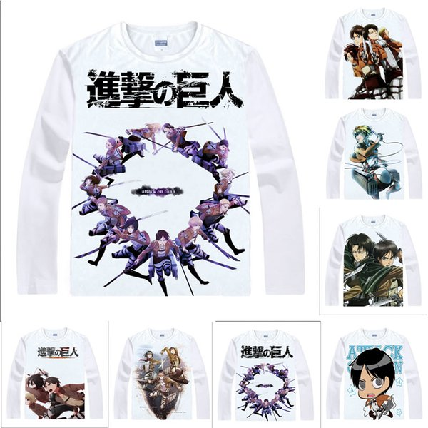 Anime Shirt Attack on Titan T-Shirts Multi-style Long Sleeve Survey Corps Eren Jaeger Cosplay Motivs Kawaii Shirts