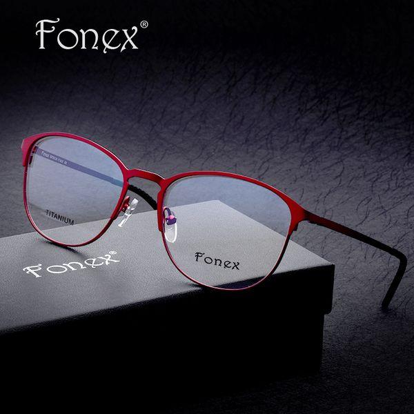 Wholesale- 2017 Super High Quality Women  Designer Sun Glasses Optical Frames Titanium Female Round Eyeglasses Full Frame ip Plating