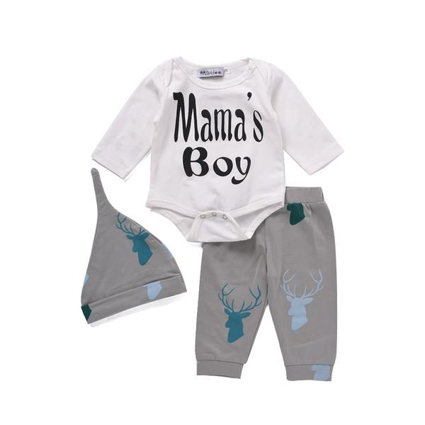 Mikrdoo Christmas Baby Newborn Clothes Kids Letter Mama's Boy Long Sleeve Romper Deer Pants Hat 3pcs Toddler Tracksuit Infant Clothing Suit