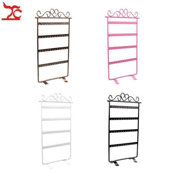 Forme el metal 48Hole Earrings Jewelry Display Wall Frame Rack Holder 4 Capa Iron Painted Jewelry Showcase Soporte 4 colores disponibles