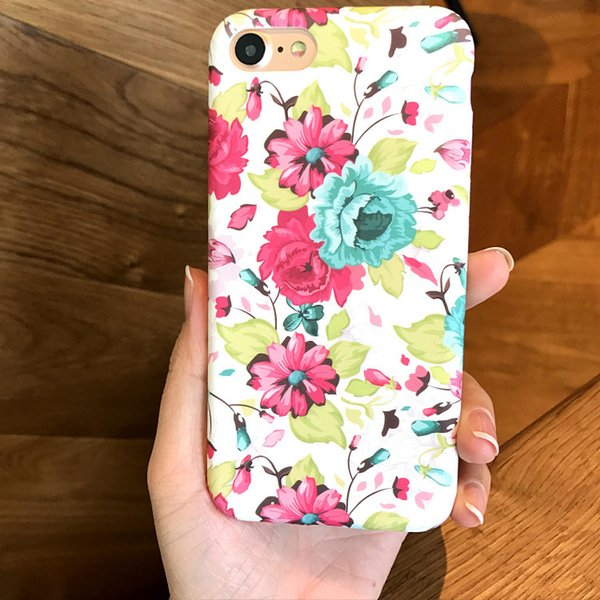 10pcs Flower Cell phone case Back Cover Case for iphone 7 7plus 6 6S 6plus 6Splus with opp package free shipping 4 color hot sale