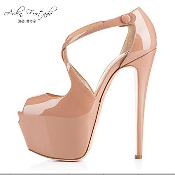 2017 nude tacones altos 15 cm sandalias de plataforma peep toe bombas más tamaño 11 12 14 zapatos de charol para mujer personalizados cualquier color