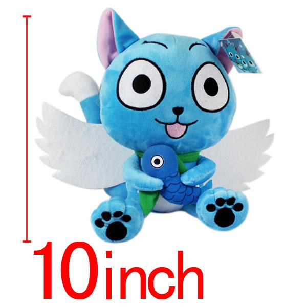 Fairy Tail Flying Wing Fighting Habi Cat 25cm 10 inch Plush FAIRY TAIL Mage Dolls Dolls 3pcs/lot