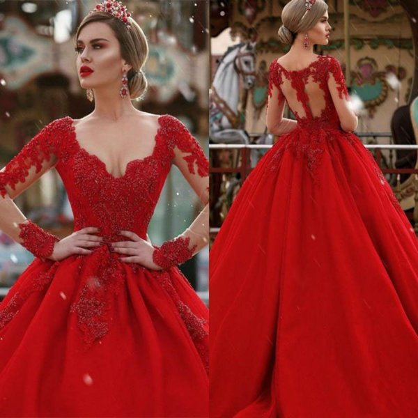 Cheap Vintage Red Long Sleeves Evening Dress Puffy V Neck Ball ...