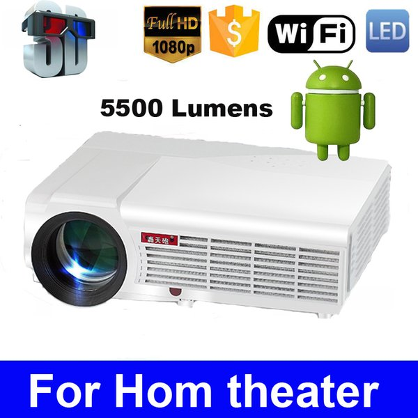 Wholesale-LED96 Quad core Android 4.4 1080P wifi led projector 5500Lumen full hd 3d home theater lcd video HDMI proyector projektor beamer