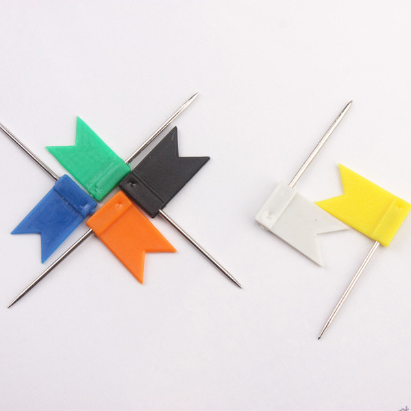 best selling 200 pcs  lot multi-color flag shaped map push pins, flag thumb tacks good for office using free shipping