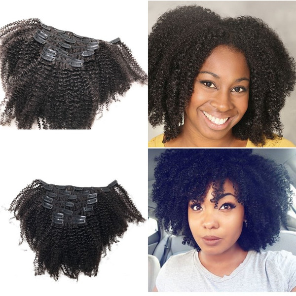 Brazilian Virgin Clip in Hair Extensions 120g Afro Kinky Curly clip ins for Black Women FDSHINE