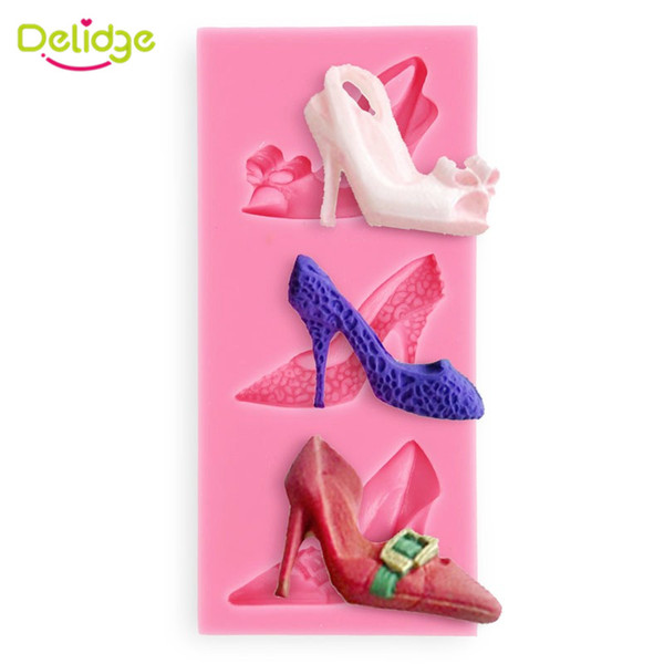 1 pc Lady High-Heeled Shoes Cake Mold Silicone Girl High-Heeled Shoes Fondant Candy Mould Baking Tools Random Color