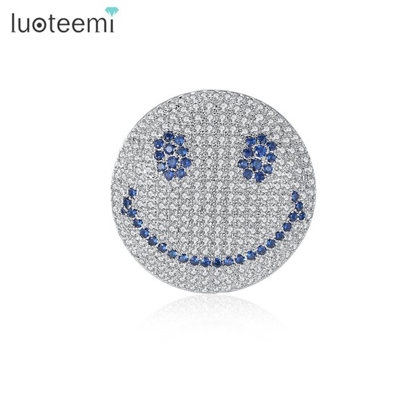 LUOTEEMI Cute Brooch Micro Paved Tiny Clear Shining CZ Red Blue Color Face Smile Round Shape Pins for Girls Party Christmas Gift
