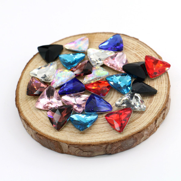 14x14mm Triangle Glass Crystal Fancy Stone Bling Crystal Glass Gemstones For Jewelry Making 50pcs/bag (10 Different Color Available)