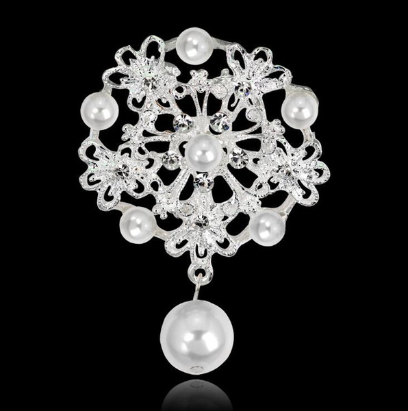 Luxury Pearl Brooches Crystal Rhinestone Gold Plated Flower Pins Brooch Bridal Wedding Jewelry Women Party Brooch Pin