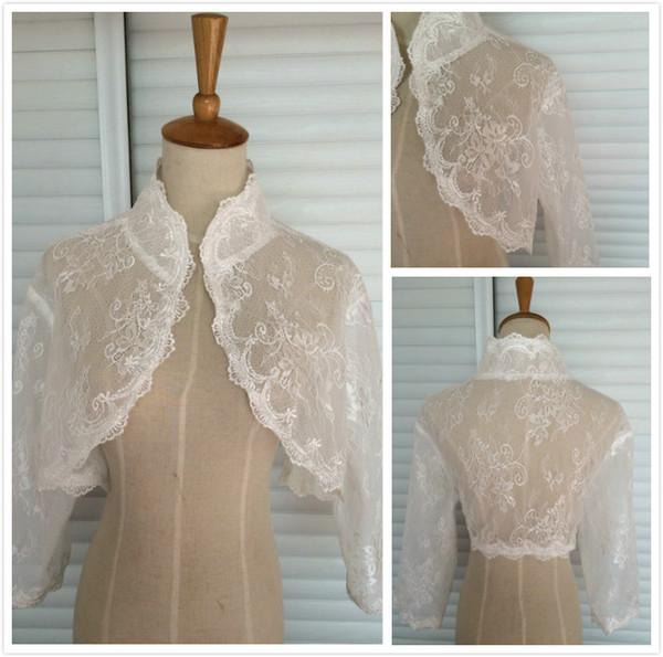 High Quality Wedding Bridal Wraps Jackets With Illusion 3/4 Long Sleeves Cheap Custom Wedding Bolero Wraps Free Shipping