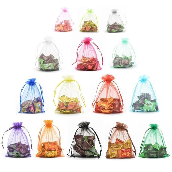 top popular 5x7cm 7x9cm 9x12cm 10x15cm Jewelry Gift Pouch Bags Muti Size Colorful Drawstring Bag Organza Gift Candy Bags DIY Gift Bags D0236 2020