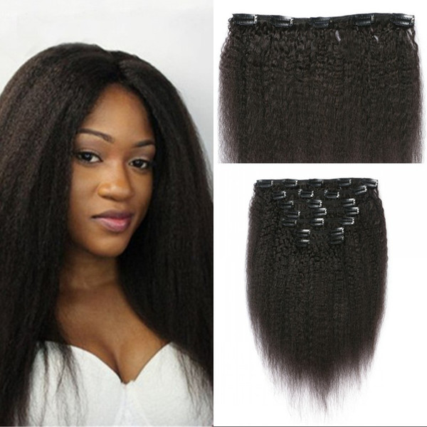 Kinky Straight Clip In Human Hair Extensions Nautral Color Peruvian Clip-ins Full Head 7 Pcs Non-remy Hair 120G G-EASY