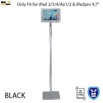 Tablet pc stand display floor stand for iPad 2 3 4 air lock tablet holder Aluminium Alloy universal 360 degree rotatable black silver