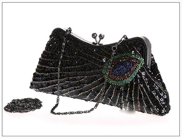 1pc Vintage Beads Sequib Handbag Party wedding Bridal embroidery Evening Clutch Purse wallet make up bag case