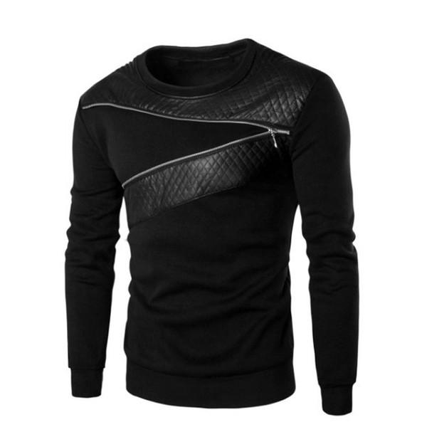 Leder Patchwork Schwarz Hoodies Männer Reißverschluss Männlich Pullover Moletom Mann Sweatshirt Sweat Pull Homme Plus Größe 5XL