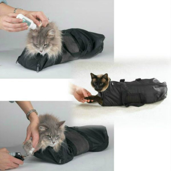 Heavy Duty Mesh Cat Grooming Bathing Restraint Bag No Scratching for Claw Nail Trimming Injecting Examing - 2 Sizes & Vet Tool