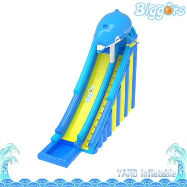 Blue Dolphin Children Inflatable Slide With Pool Large Size Commerical Water Slide