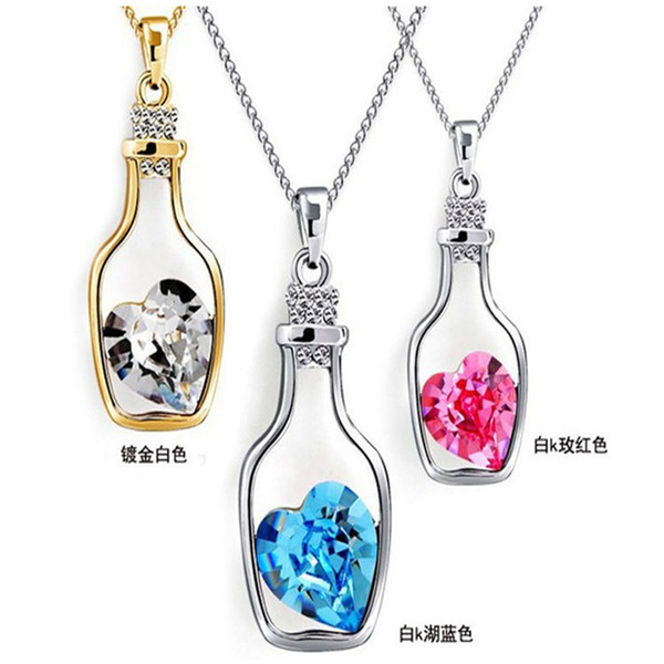 Austrian Crystal Wishing Drifting Bottle Necklace Pendant Sparkle Gem Love Heart Fasion Jewelry For Women Gifts Accessories