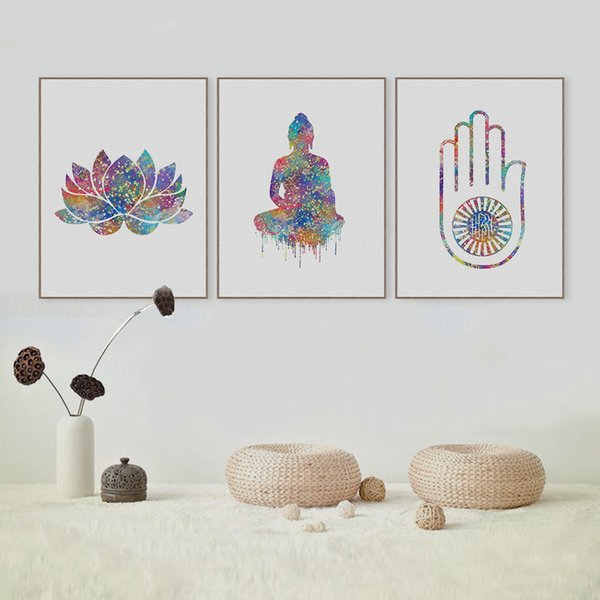 Modern Abstract Watercolor Buddha Zen Lotus Poster A4 Big Peace Wall Art Picture Nordic Home Decor Canvas Painting No Frame Gift