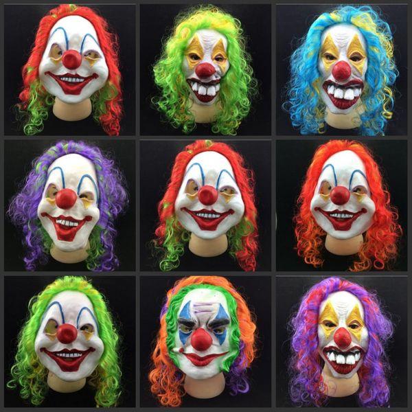 7601b6bf8 Scary Clown Mask Adult Halloween Evil Killer Fancy Dress Horror Jolly Latex  Hair Full Face Masks