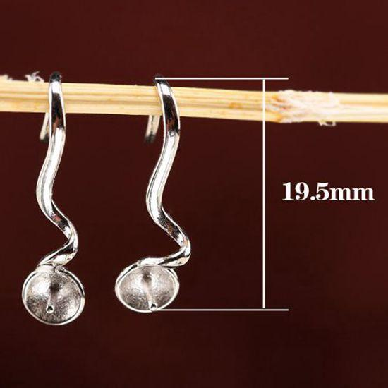 Fine Silver 5pcs/lot 7-12mm Pearl Round Bead Semi Mount Women Earrings 925 Sterling Silver