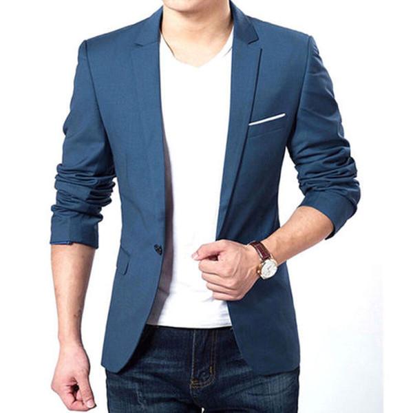 Wholesale- Mens Korean Slim Fit Fashion Cotton Blazer Suit Jacket Black Blue Plus Size M To XXXL Male Blazers Mens Coat Wedding Dress 22