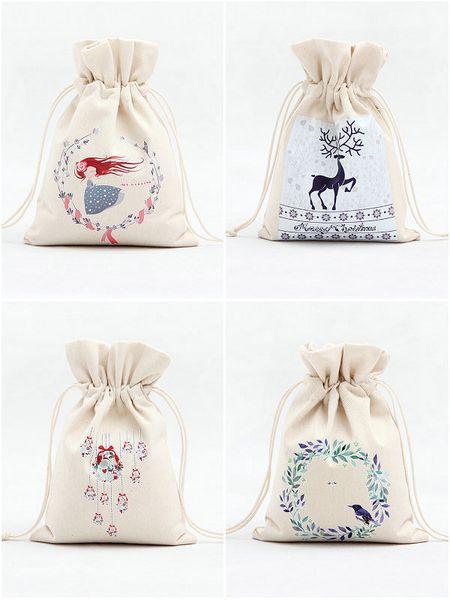 DHL 120pcs Christmas Gift Bags 14 style Organic Heavy Canvas Bag Santa Sack Drawstring Bag With Reindeers Santa Claus Sack Bags for kids