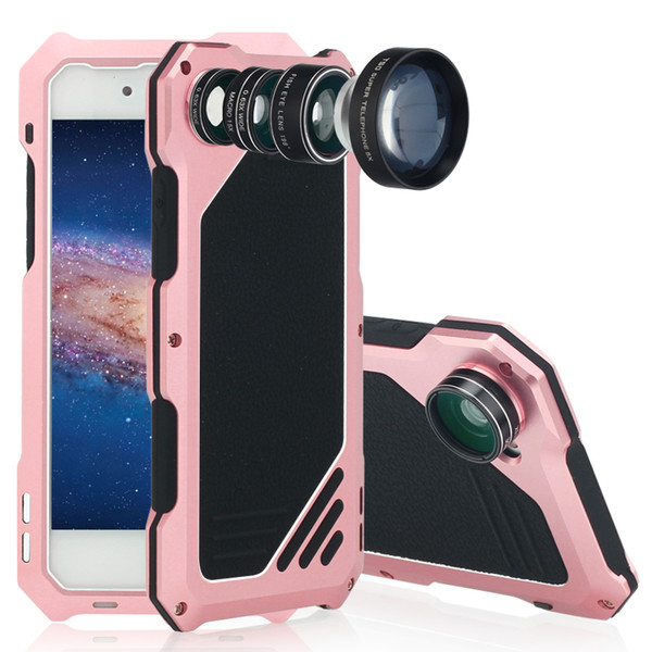 Shockproof Aluminum Metal Case With Camera Angle Lens Micro-lens Fish eye for iPhone X 8 7 6SPlus Dust-proof Waterproof Drop Resistance case