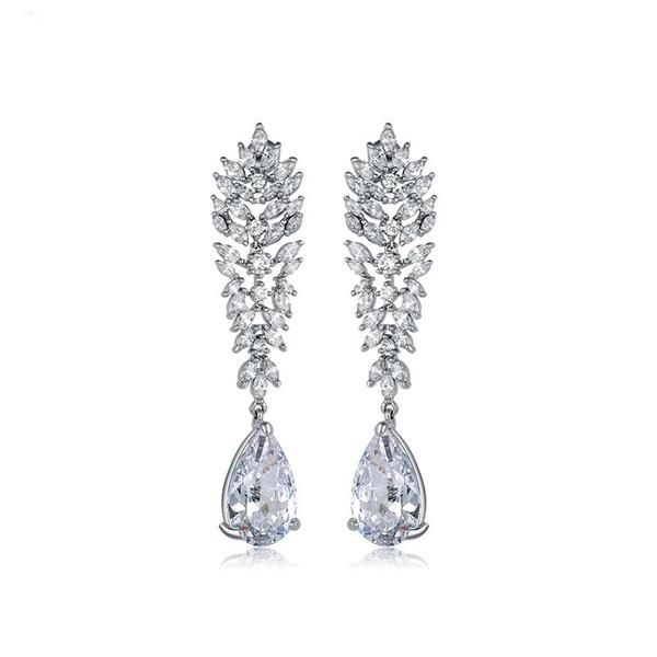 LUOTEEMI Big Flower Tiny CZ Crystal Drop Earrings Fashion Jewelry Elegant Waterdrop Pendant Brincos for Women Bridal Wedding