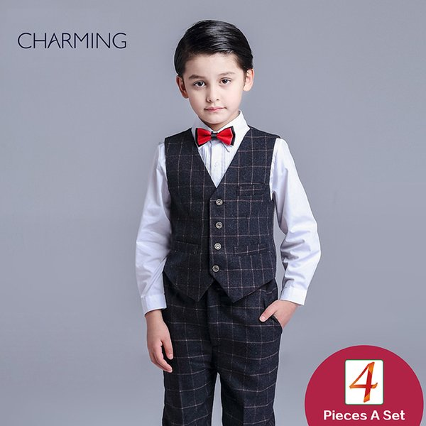 Brand New boys dress vest and pants sets boys 2 piece suit High quality fabrics designer suits for kids From china suppliers