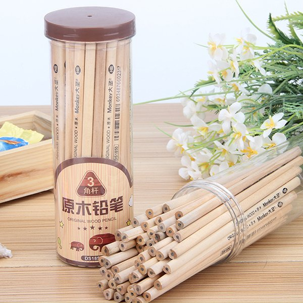 50Pcs/Lot Original Wood HB Pencils, Wood-Cased Sketching Triangular Pencil without Eraser, Standard Pencil for Office School