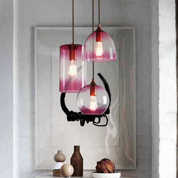 Gewinde Design Spiegelglas 1 Licht Pendelleuchte Aquarium Spalte Form Lila  Glas Esszimmer Lampe Für Restaurant