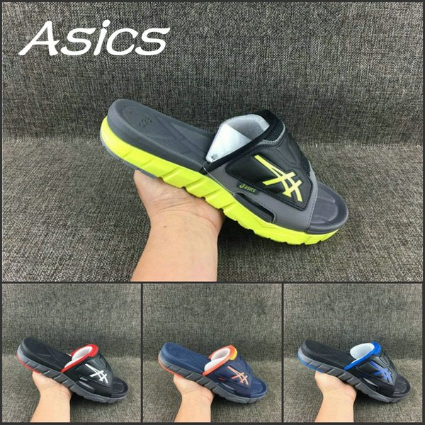 dirt cheap best supplier great quality 2019 2019 Wholesale Asics Slippers Shoes Men Women Shoes New Color Original  Black Blue Sandals Sport Indoor Discount Sneakers 37 45 From Wegosport, ...