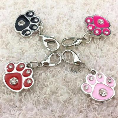 100pcs/lot PAW pet dog ID tags Pet Collar pendants inlaid with diamonds Drip processed dog cat tags