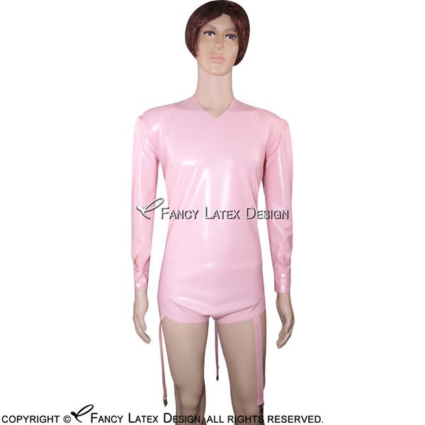 Baby Pink Sexy Látex Leotardo traje de baño traje de baño Jumsuit Catsuit Zipper en la parte posterior Venta caliente LTY-0029