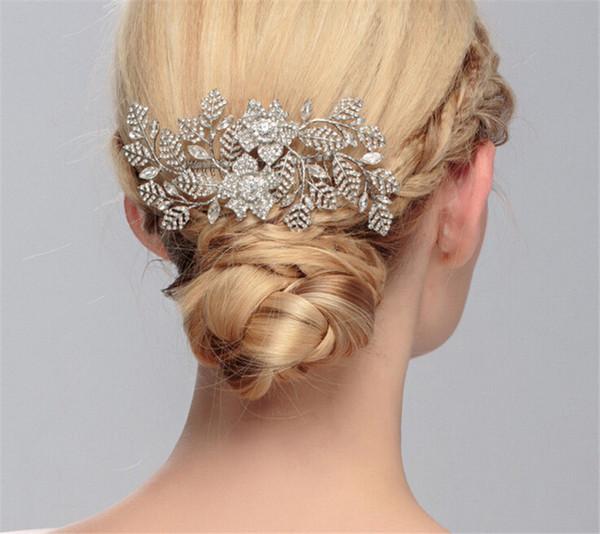 Wedding Bridal Rhinestone Flower Hair Comb Accessories Tiara Crown Jewelry Crystal Headpiece Party Prom Bridesmaid Headdress Silver Gift