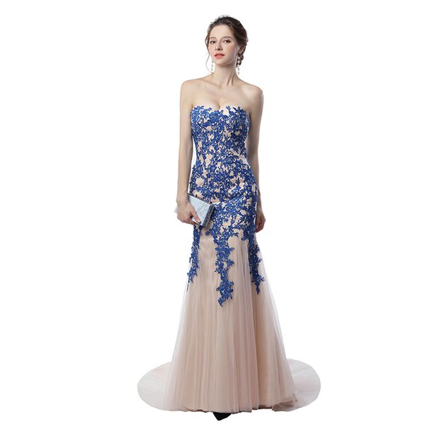 Evening Dresses on Sale Vestidos Longos Para Festa 2017 Sleeveless Elegant Long Mermaid Prom Dresses with Appliques