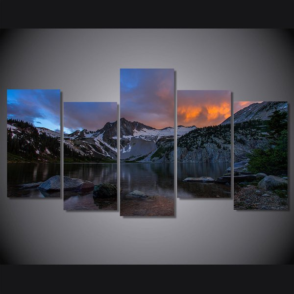 5 Pcs/Set Framed HD Printed Snow Mountain Lake Picture Wall Art Canvas Print Room Decor Poster Canvas Painting Wall