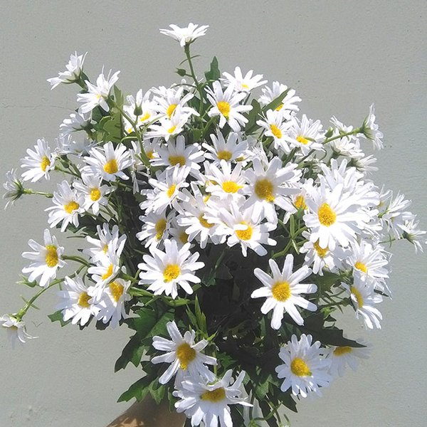 artificial daisy 14inch tall in paper white cute 24 blooms *1.5''bloom diameter faux silk flower for home garden buoquets decorations event