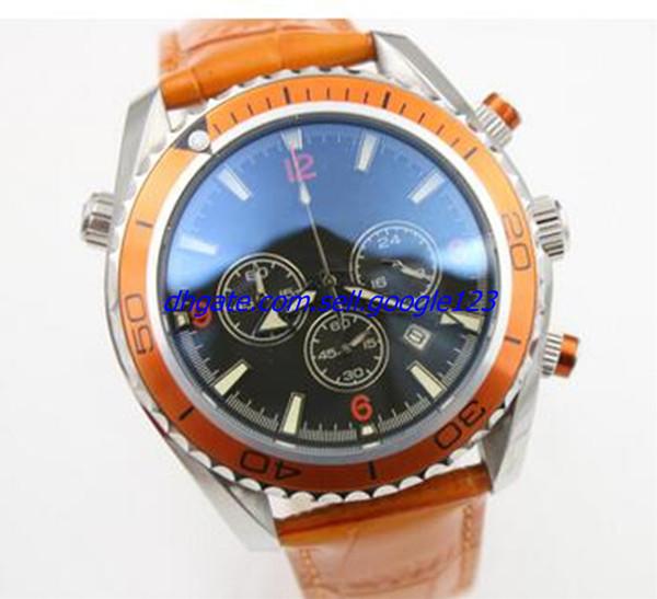2018 Top watch men quartz stopwatch Co-Axial planet ocean chronograph function watch orange leather belts watches men dres 8