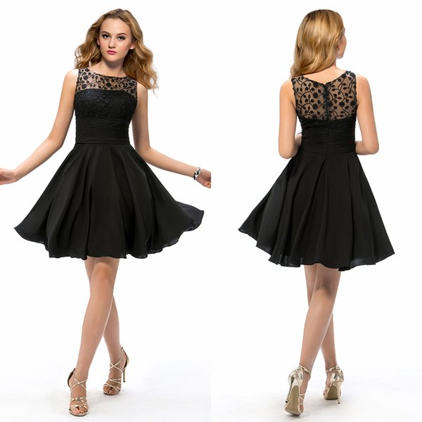 Party Cheap Little Black Prom Dresses Empire Knee Length Pleats ...