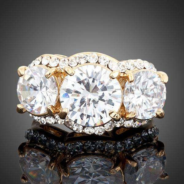 Neoglory Jewelry Gold Plated Swarovski elements Gold Color Stellux Austrian Crystal 3pcs Clear Round Cubic Zirconia Ring