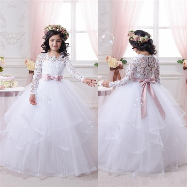 2019 Cheap White Flower Girl Dresses for Weddings Lace Long Sleeve Ball Gown Girls Pageant Dresses First Communion Dress Little Girls Prom