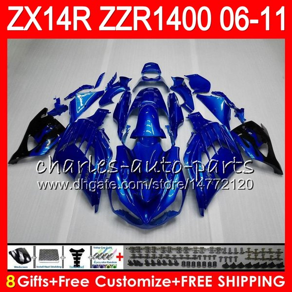 Body For KAWASAKI glossy blue NINJA ZX 14R ZX14R 06 07 08 09 10 11 HM15 ZZR 1400 ZZR1400 14 R ZX-14R 2006 2007 2008 2009 2010 2011 Fairing