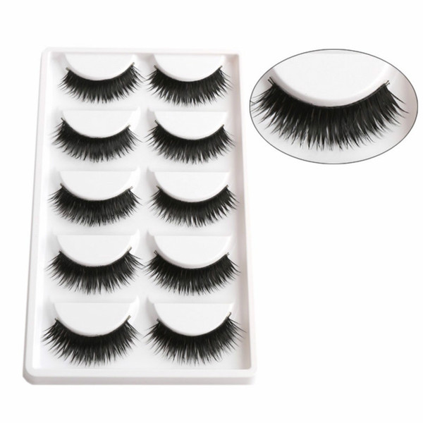 1 Box 5 Pairs Thick Black False Eyelashes Makeup Tips Natural Smoky Makeup Long Fake Eye Lashes